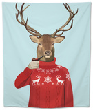 Deer in Ski Sweater Tapestry by  Fab Funky