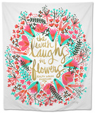 Laughs i Flowers  Pink Palette Tapestry by Cat Coquillette