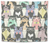 Seamless Pattern with Hipster Cute Cats for Children Tapestry by cherry blossom girl