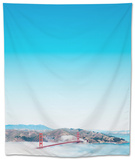 San Francisco Golden Gate Bridge in the Middle of Clouds Tapestry by  franckreporter
