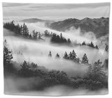 Dreamland, Black and White, Fog at Mount Tamalpais, Marin, Bay Area San Francisco Tapestry by Vincent James
