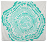 Tree Rings in Turquoise Tapestry by Cat Coquillette