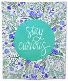 Stay Curious in Blue and Turquoise Tapestry by Cat Coquillette