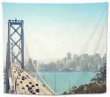 San Francisco Bay Bridge and Rush Hour Traffic Tapestry by  franckreporter