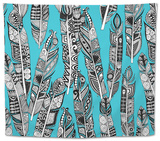 Geo Feathers Turquoise Blue Tapestry by Sharon Turner