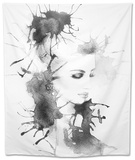 Woman Portrait .Abstract Watercolor .Fashion Background Tapestry by Anna Ismagilova