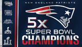 NFL New England Patriots 5x Super Bowl Champions Flag Novelty