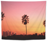 Usa, California, Los Angeles, Skyline and Palm Trees at Sunset Tapestry by Jim Corwin
