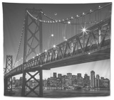 Classic San Francisco in Black and White, Bay Bridge at Night Tapestry by Vincent James