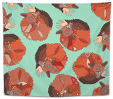 Curled Fox Polka Mint Tapestry by Sharon Turner