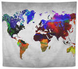 World Watercolor Map 12 Tapestry by  NaxArt