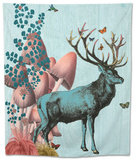Turquoise Deer in Mushroom Forest Tapestry by  Fab Funky