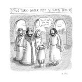 "TITLE: Jesus turns water into Vitamin Water. Jesus before a jug, saying ""T... - New Yorker Cartoon Premium Giclee Print by Roz Chast"