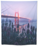 Foggy Golden Gate Bridge and Wildflowers, San Francisco Tapestry by Vincent James