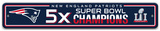 NFL New England Patriots 5x Super Bowl Champions Plastic Street Sign Wall Sign