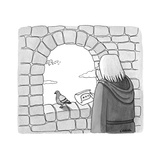 Carrier pigeon brings note that is a text message ellipses. - New Yorker Cartoon Premium Giclee Print by Alice Cheng