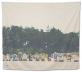 Beach Huts in England Tapestry by Laura Evans