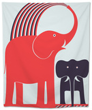 Red Elephant Tapestry by Greg Mably