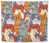 Cats Pets Animal Group Color Seamless Pattern Tapestry by  Karrr