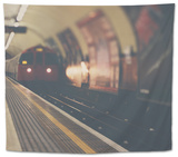 A London Underground Train Tapestry by Laura Evans