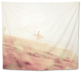 Beach Scene with Surfer in USA Tapestry by Myan Soffia