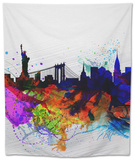 New York Watercolor Skyline 1 Tapestry by  NaxArt
