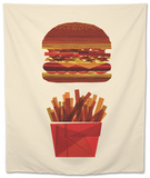 Burger and Fries Tapestry by Greg Mably