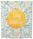 Stay Curious in Yellow and Green Tapestry by Cat Coquillette