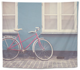 Red Bike in Denmark Tapestry by Laura Evans