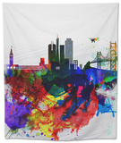San Francisco Watercolor Skyline 1 Tapestry by  NaxArt