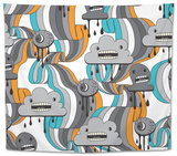 Monsters Modern Seamless Pattern In Retro Style Tapestry by  incomible