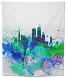Boston Watercolor Skyline Tapestry by  NaxArt