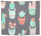 Cactus and Succulent Pattern Tapestry by Musing Tree Design
