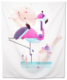 Placido Flamingo Tapestry by Antony Squizzato