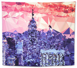 Low Poly New York Art - Purple Sunset Tapestry by Philippe Hugonnard