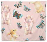 Rabbit and Butterflies. Watercolor Seamless Pattern Tapestry by  tanycya