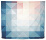 Abstract Blue Triangles Geometry Tapestry by  art_of_sun