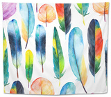 Watercolor Feathers Set. Hand Drawn Vector Illustration with Colorful Feathers Tapestry by  KaterinaS