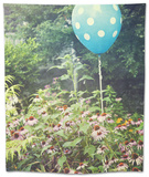 Cheerful Polka Dot Balloon Is an Unexpected Accent in a Flower Garden Tapestry by  pdb1