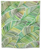 Tropical Leaves in Greens Tapestry by Cat Coquillette