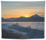 Surfer in Waves at Sunrise Tapestry by Latitude 59 LLP