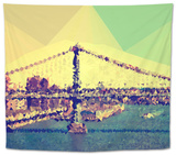 Low Poly New York Art - Manhattan Bridge Tapestry by Philippe Hugonnard