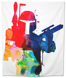 Star Warrior Boba Fett Watercolor Tapestry by Lora Feldman