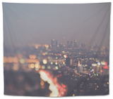 Los Angeles at Night with Road Traffic Tapestry by Myan Soffia