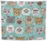 Seamless Pattern with Cats Tapestry by Tatsiana Tsyhanova