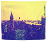 Low Poly New York Art - Yellow Sunset Tapestry by Philippe Hugonnard