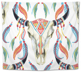 Watercolor Cow Skull Tapestry by  tanycya