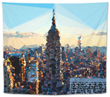 Low Poly New York Art - Skyline Sunset Tapestry by Philippe Hugonnard