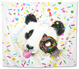 Funny Panda Bear Watercolor Illustration Tapestry by Fayankova Alena