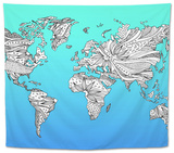 World Map Hand Drawn Flower Floral Design Tapestry by  benjavisa